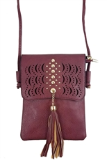 A Dozen Assorted Color Tassel Accent Faux Leather Crossbody Bag