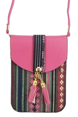 A Dozen Assorted Color Tassel Accent Tribal Messenger Bag