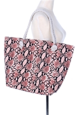 Snake Skin Print Canvas Tote Bag