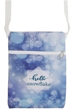 A Dozen Assorted Color Snowflake Print Mini Messenger Bag