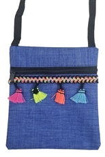 A Dozen Assorted Color Tassel Accent Mini Messenger Bag