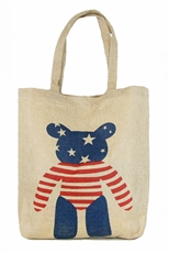 American Flag Design Burlap Tote Bag