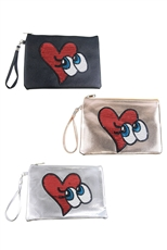 DZ Pack Assorted Color Big Eyes and Heart Patch Clutch Bag
