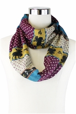 DZ Pack Assorted Color Multi Tone Reindeer Print Infinity Scarves