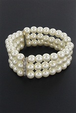 Dozen Assorted Color 3 Line Pearl Stretch Bracelet