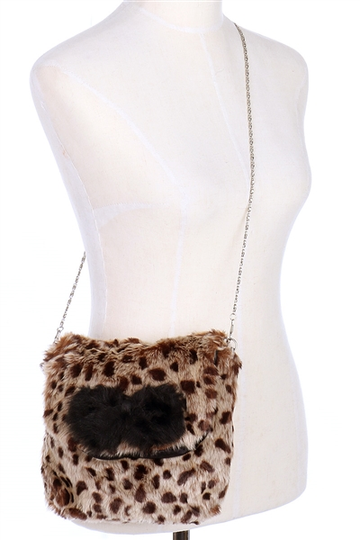 A Dozen Assorted Color Soft Fur Leopard Clutch Purse