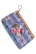 A Dozen Assorted Color Multi Tone Tribal Print Coin Purse