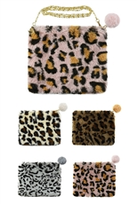 A Dozen Assorted Color Soft Fur Leopard Clutch Bag