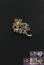Dozen Assorted Color Rhinestone Floral Charm Brooch