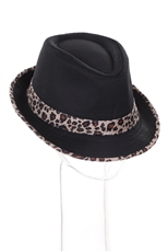 A Dozen Assorted Color Leopard Accent Fedora