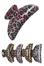 A Dozen Assorted Color Animal Print Hair Claw Clip