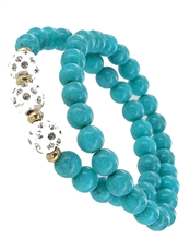 Dozen Assorted Color 2-pc Faux Gemstone Bracelet Set