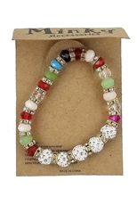 Dozen Assorted Color Rhinestone and Glass Bead Bracelet