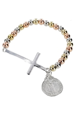 A Dozen Assorted Color Cross Religious Stretch Bracelet