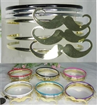 Dozen Assorted Color 6pcs Mustache Bangle