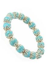 Dozen Assorted Color Turquoise Gem Stone Stretch Bracelet