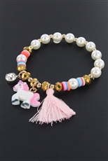 Dozen Assorted Color Unicorn Charm Bracelet