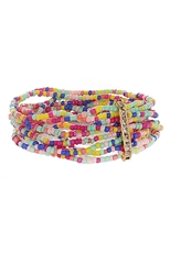 Dozen Assorted Color Seed Bead Layered Bracelet