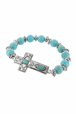 Dozen Cross Stretch Turquoise Bracelet