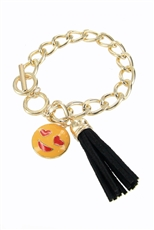 Dozen Assorted Color Emoji and Tassel Charm Bracelet