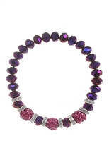 Dozen Assorted Color Rhinestone Ball Charm Crystal Beaded Stretch Bracelet