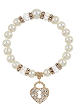 A Dozen Assorted Color Heart Lock Charm Pearl Bracelet