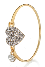 Dozen Assorted Color Rhinestone Heart Bangle