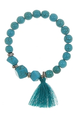 Dozen Assorted Color Tassel Stretch Bracelet