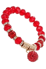 A Dozen Assorted Color Fireball Glass Stretch Bracelet
