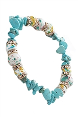 A Dozen Assorted Color Turquoise Gem Stone Stretch Bracelet