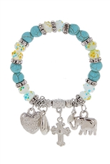 Dozen Assorted Color Multi Charm Bracelet
