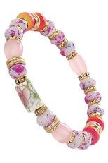 Dozen Assorted Color Multi Bead Stretch Bracelet