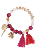 A Dozen Assorted Color Tassel Stretch Bracelet