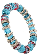 A Dozen Assorted Color Glass Bead Stretch Bracelet