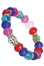 A Dozen Assorted Color Multi Bead Stretch Bracelet