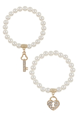 A Dozen Assorted Color 2-pc Lock and Key Pearl Bracelet Set