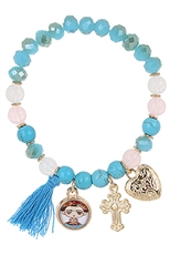 A Dozen Assorted Color Multi Charm Stretch Bracelet