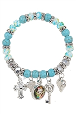 A Dozen Assorted Color Multi Charm Bracelet