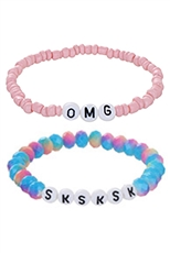 A Dozen Assorted Color 2-pc Multi Bracelet Set