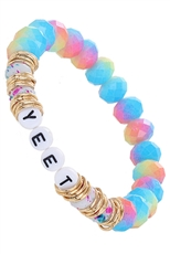 A Dozen Assorted Color Multi Bead Bracelet