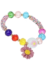 A Dozen Assorted Color Flower Charm Multi Bead Bracelet