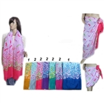DZ Pack Assorted Color Mustache Print Scarves