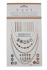 Dozen Assorted Designs Metallic Temporary Tattoos