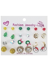 A Dozen Assorted Color 12-pair Christmas Earring Set