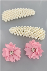 A Dozen Assorted Color Pearl Hair Clip and Flower Earring Set
