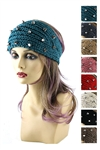 DZ Pack Assorted Color Spike Studded Knitted Headwrap