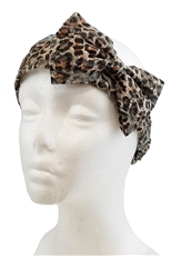 A Dozen Assorted Color Ribbon Accent Leopard Headwrap