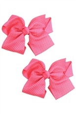 Dozen Assorted Color 2-pc Bow Hair Clip Set
