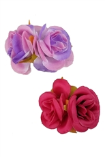 Dozen Assorted Color 2-pc Flower Hair Clip Set