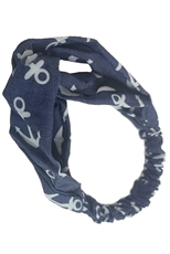 A Dozen Assorted Color Anchor Print Headwrap